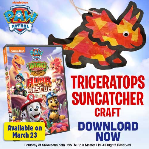 Welcome spring sunshine into your home, dino-style, with this fun Triceratops Suncatcher craft!