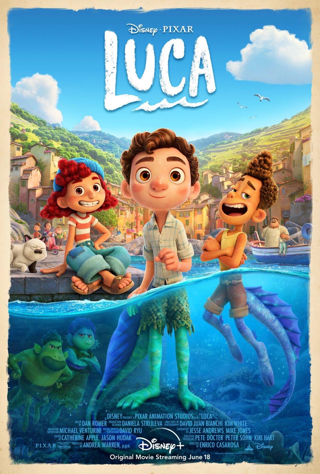 Enjoy an incredible summer in the Italian seaside town of Portorosso, in this coming of age film Disney and Pixar's Original Feature Film Luca. Streaming exclusively on Disney+, June 18th, 2021