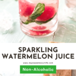 Enjoy this refreshing Sparkling Watermelon Juice on a hot summer day. Made with fresh ingredients, including watermelon and basil leaves, It's the perfect summer drink.