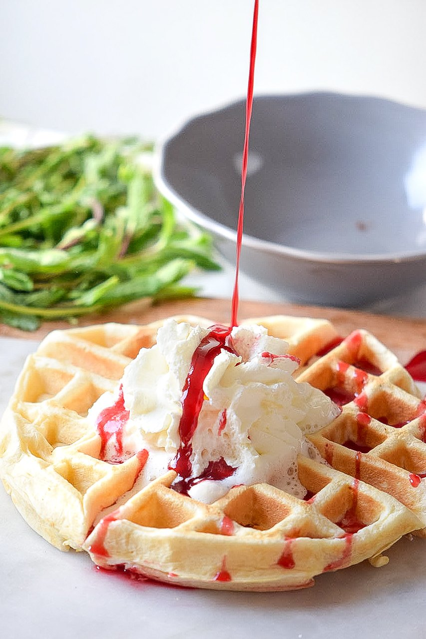 These Cream Cheese Waffles are the perfect homemade waffle recipe for busy morning breakfasts. Deliciously sweet, soft, and fluffy, served with fresh berries, maple syrup, or strawberry syrup.